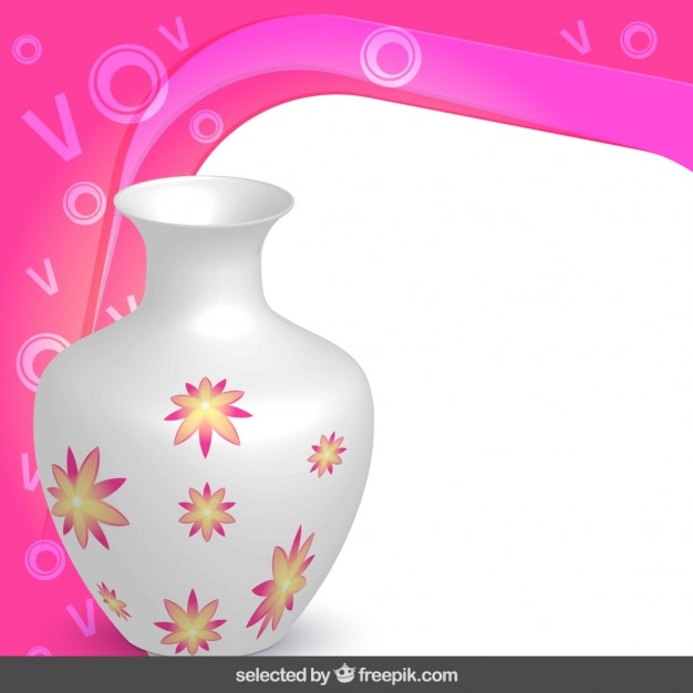 Cadre avec vase floral Vecteur gratuit