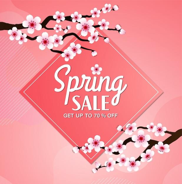Cadre De Vecteur De Fleur De Cerisier. Fond De Bannière De Vente De Printemps Rose Sakura Vecteur Premium