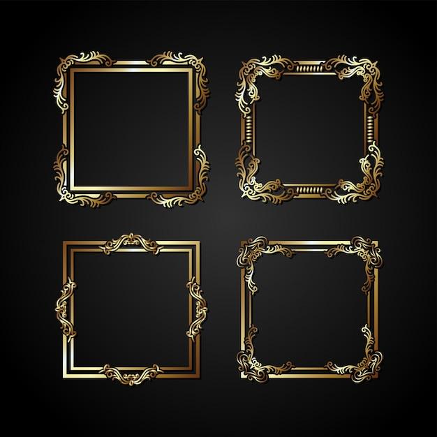 Cadre de vecteur d'or de luxe Vecteur Premium