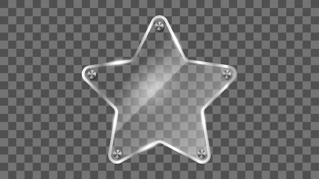 Cadre en verre étoile, bannière en verre réfléchissant. Vecteur Premium