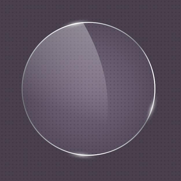 Cadre en verre de forme ronde réaliste Vecteur Premium