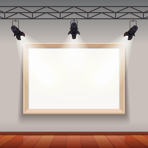 Cadre vide dans le salon de la salle des arts Vecteur gratuit
