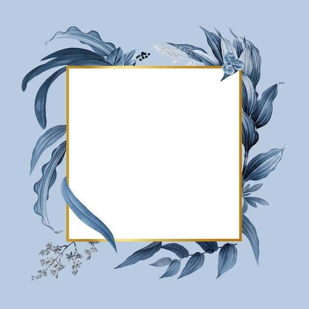 Cadre Vide Avec Vecteur De Conception De Feuilles Bleues Vecteur gratuit
