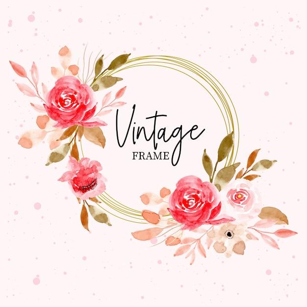 Cadre vintage avec aquarelle florale et feuilles Vecteur Premium