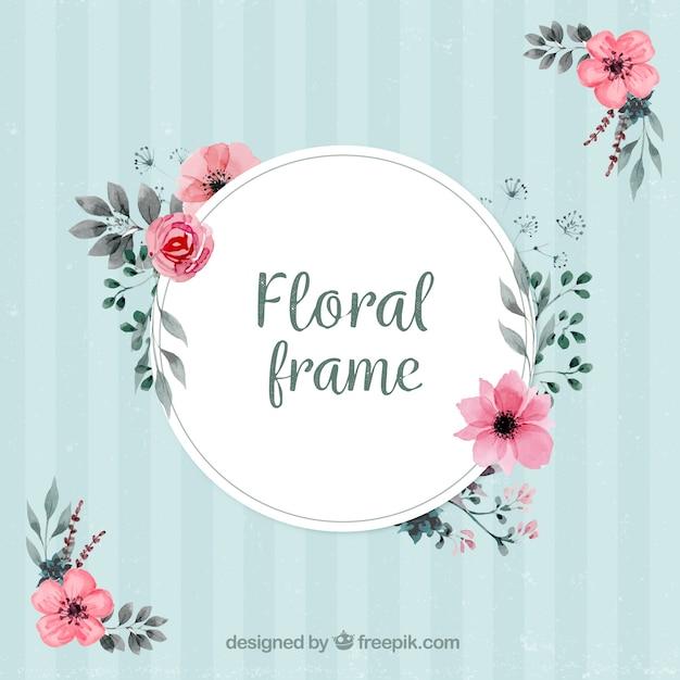 Cadre vintage avec décoration florale Vecteur gratuit