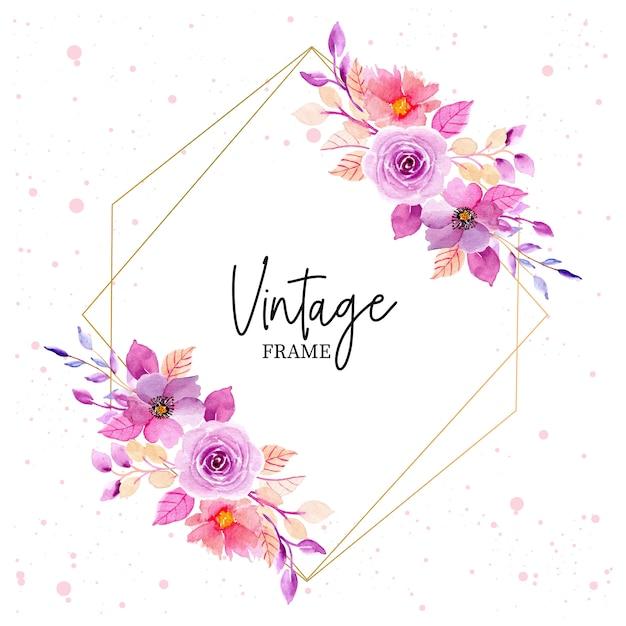 Cadre vintage floral purle aquarelle Vecteur Premium
