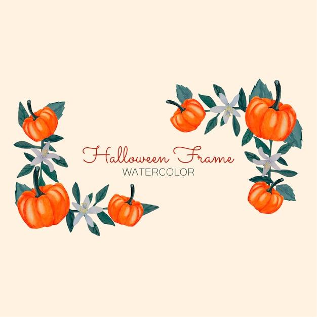 Cadres d'aquarelle d'halloween Vecteur Premium