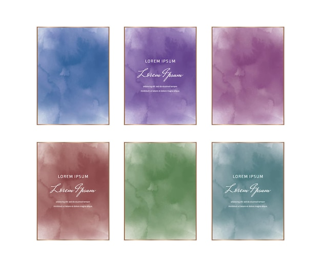 Cadres Aquarelles Rectangulaires Bleus, Violets, Rouges Et Verts Vecteur Premium