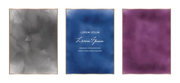 Cadres Aquarelles Rectangulaires Noirs, Bleus Et Violets Vecteur Premium