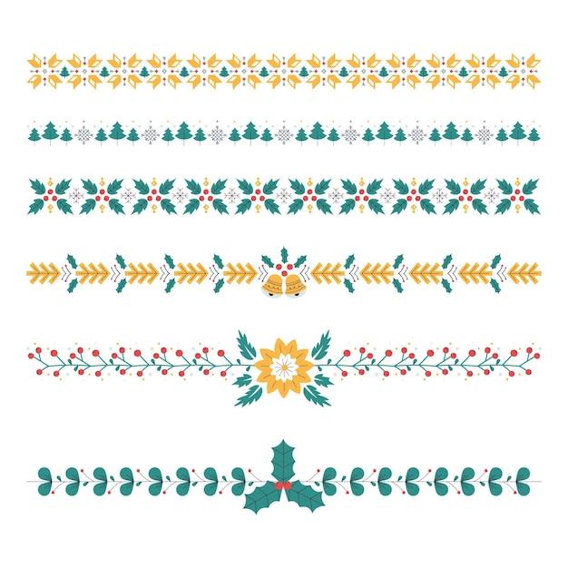 Cadres Et Bordures De Noël Au Design Plat Vecteur Premium