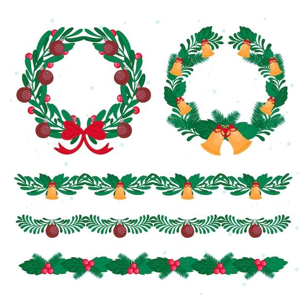 Cadres Et Bordures De Noël Au Design Plat Vecteur gratuit