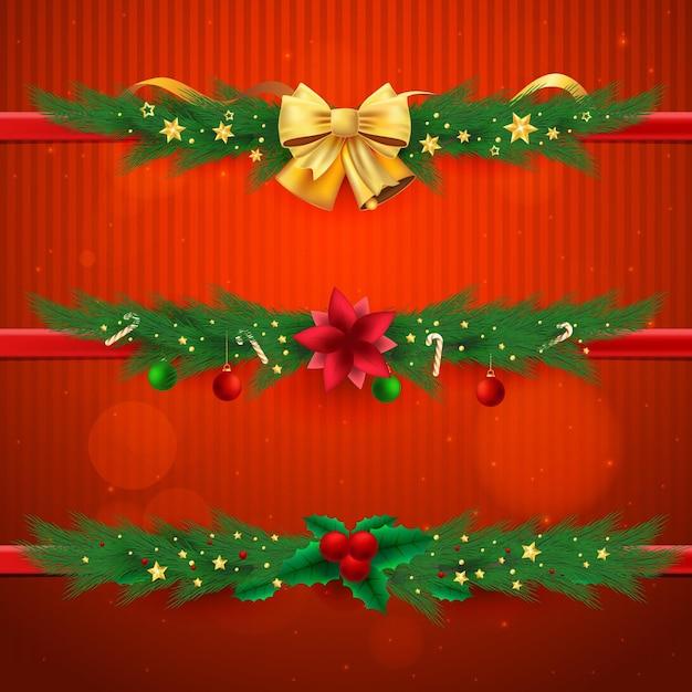 Cadres Et Bordures De Noël Réalistes Vecteur gratuit