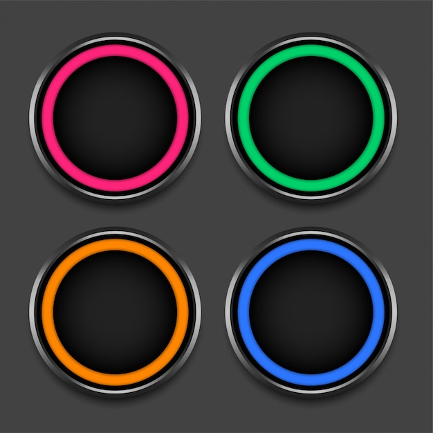 Cadres ou boutons brillants de quatre couleurs Vecteur gratuit