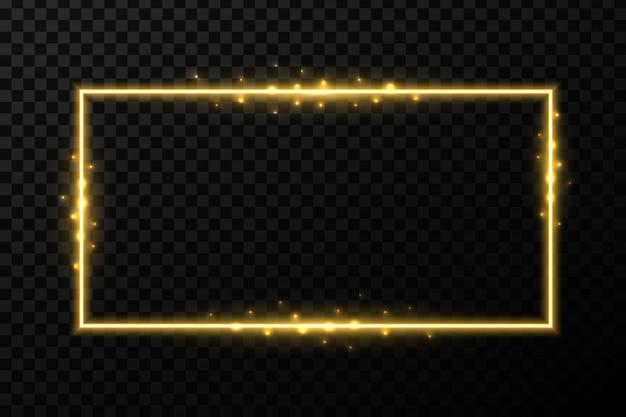 Cadres brillants d'or brillant avec la lumière. Vecteur Premium