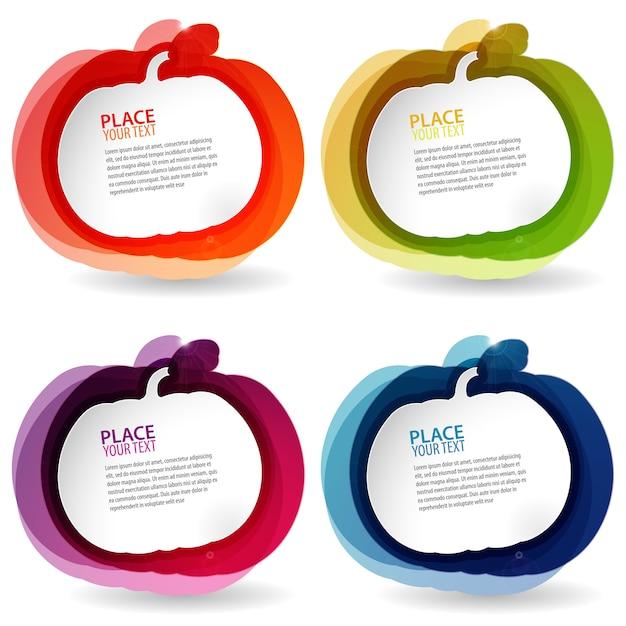 Cadres colorés en forme de citrouille Vecteur Premium
