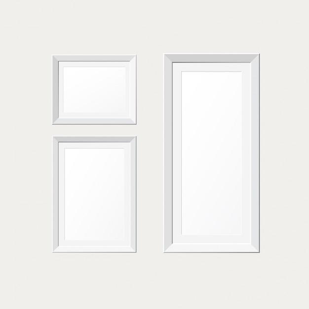 cadres de papier blanc sur le mur blanc t l charger des vecteurs gratuitement. Black Bedroom Furniture Sets. Home Design Ideas