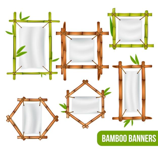 Cadres Décoratifs En Bambou Vert Et Sec Vecteur gratuit