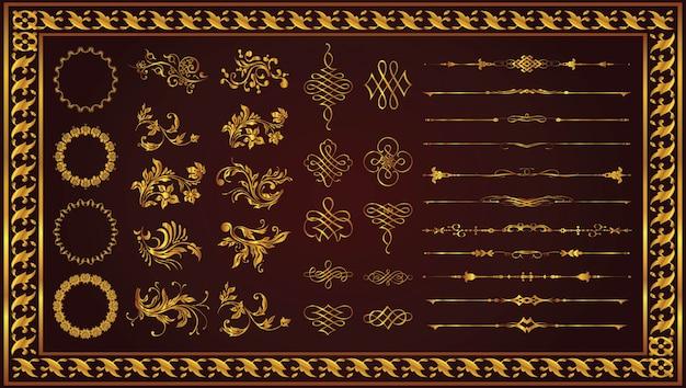 Cadres décoratifs rétro frontières art couleur or Vecteur Premium