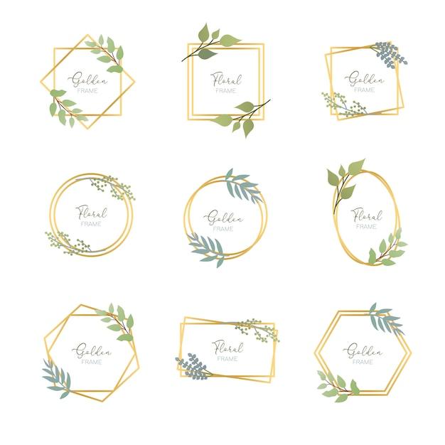 Cadres dorés avec des feuilles Vecteur Premium