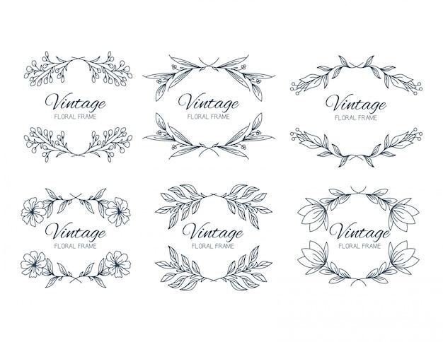 Cadres de fleurs de collection dans un style classique Vecteur Premium