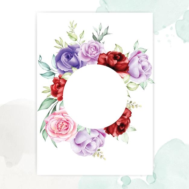 Cadres floraux avec de belles feuilles d'aquarelle Vecteur Premium