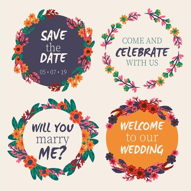 Cadres floraux de mariage Vecteur gratuit