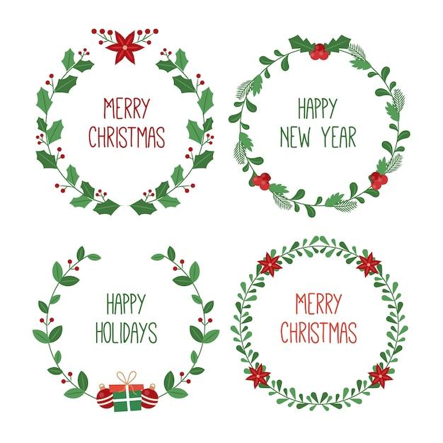 Cadres Et Frontières De Noël Au Design Plat Vecteur gratuit