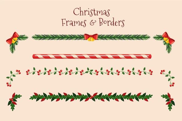 Cadres Et Frontières De Noël Design Plat Vecteur gratuit