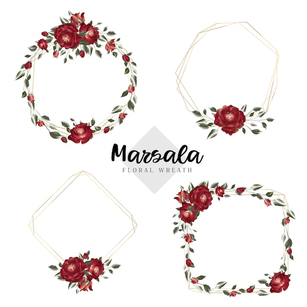 Cadres géométriques de guirlande florale de marsala Vecteur Premium