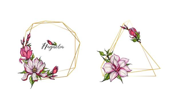 Cadres géométriques en or avec des fleurs de magnolia Vecteur Premium