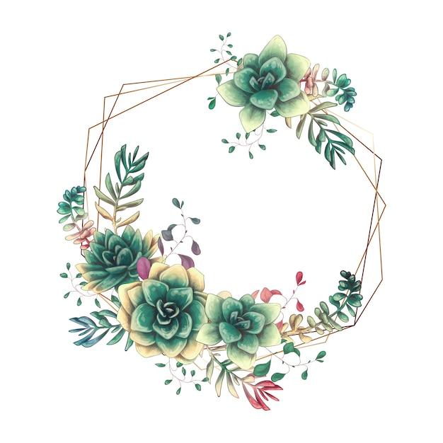 Cadres de mariage de fête avec des plantes succulentes colorées. Vecteur Premium