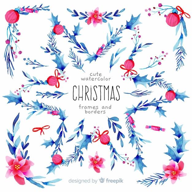 Cadres De Noël Et Des Frontières à L'aquarelle Vecteur gratuit