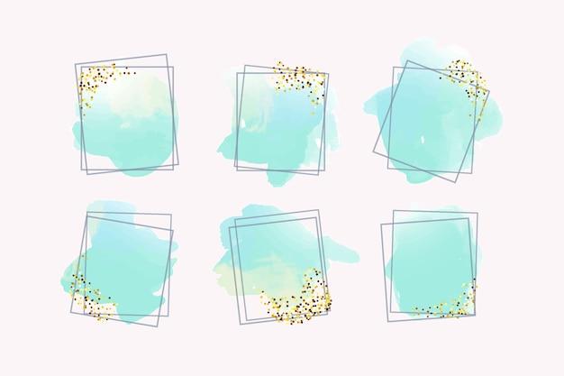 Cadres de paillettes d'or avec aquarelle Vecteur gratuit