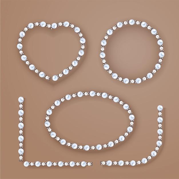 Cadres De Perles Sur Fond Beige. Vecteur Premium