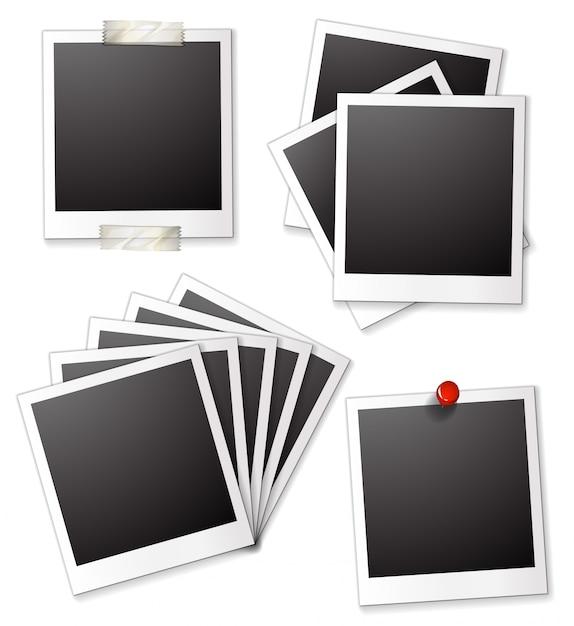Cadres photo blancs Vecteur gratuit