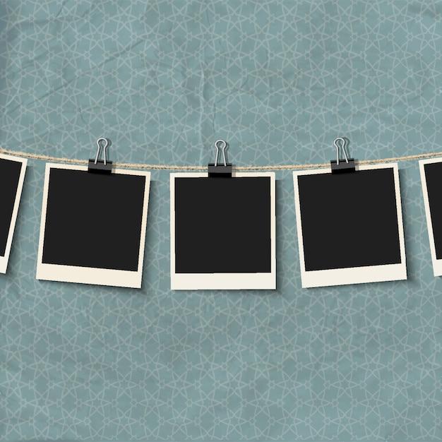 Cadres photo sur corde Vecteur Premium