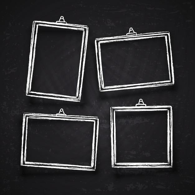Cadres de photo de craie dessinés à la main ancienne, frontières d'image vintage blanc avec des ombres isolées sur le jeu de vecteur de tableau noir. cadre de craie sur tableau noir, cadre de dessin pour illustration de menu Vecteur Premium