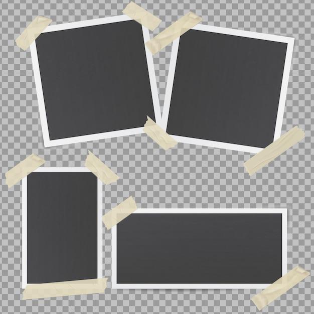 Cadres Photo Noirs Collés Avec Du Ruban Adhésif Transparent Vecteur Premium