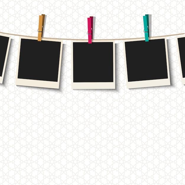 Cadres photo avec des pinces à linge Vecteur Premium