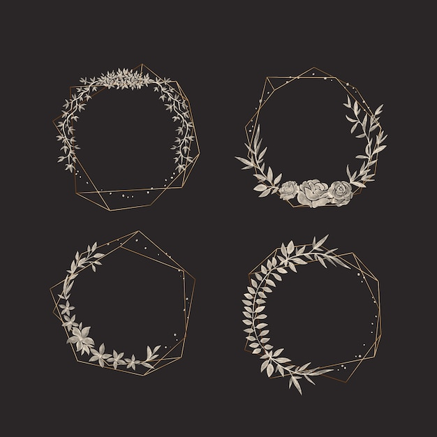Cadres Polygonaux Dorés Avec Une Collection De Fleurs élégantes Vecteur gratuit