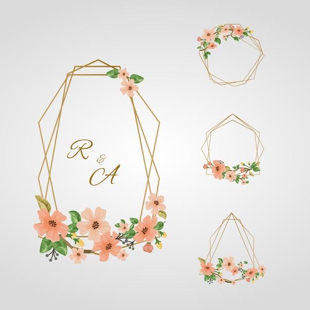 Cadres Polygonaux Dorés Avec Des Fleurs élégantes Vecteur gratuit