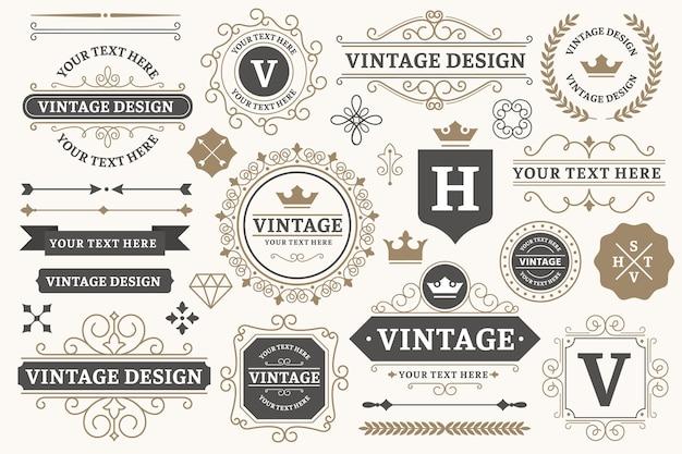 Cadres De Signe Vintage. Vecteur Premium