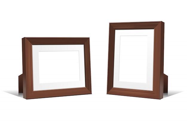 Cadres Vides 3d Réalistes De Bois De Wengé. Illustration Sur Fond Blanc. Vecteur Premium