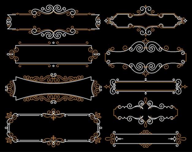 Cadres vintage décoratifs dans le style de ligne mono Vecteur Premium