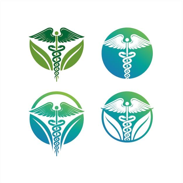 Caducée logo, icône illustrations caducée, icône de soins de santé médicaux, serpent avec ico aile Vecteur Premium
