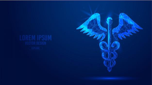 Caducée personnel serpent ailes ailes lignes géométriques, faible polygone triangles style filaire Vecteur Premium