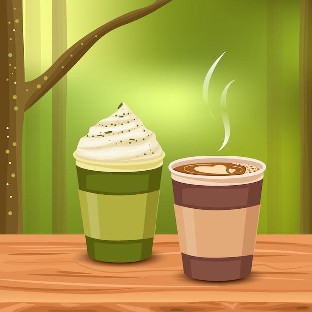 Café aromatique dans la fraîcheur Vecteur Premium