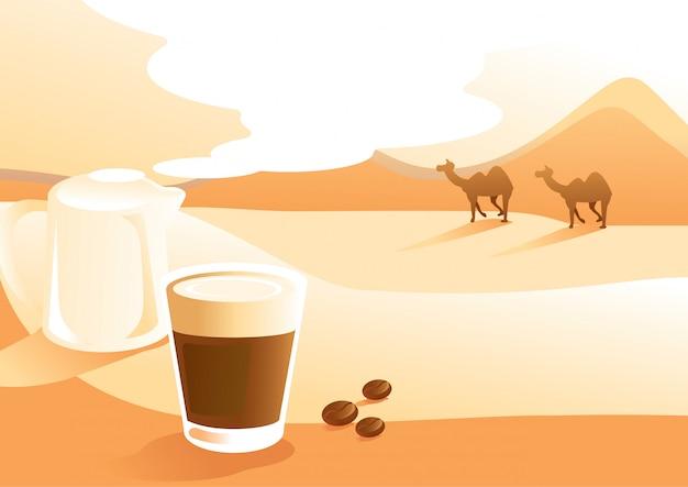Café au lait avec illustration de fond vue du désert Vecteur Premium