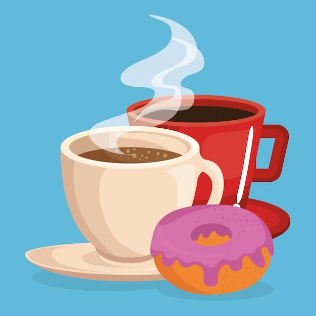 Café et beignets délicieux plats du petit déjeuner Vecteur gratuit