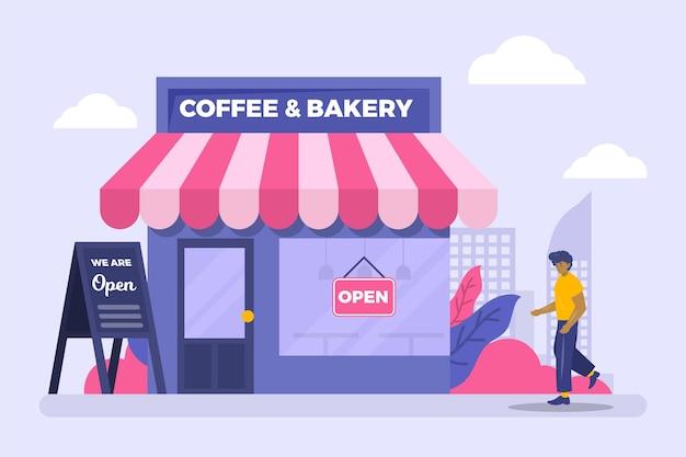 Café Et Boulangerie Rouvrant L'entreprise Vecteur Premium